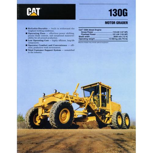 caterpillar 130g motor graders rh specsandbrochures com Cat Motor Grader Caterpillar 130G Motor Grader
